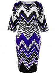 Plus Size Zigzag Slim Dress