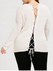 Plus Size Lace Up Chunky Sweater