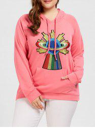 Plus Size Kangaroo Pocket Raglan Sleeve Sweatshirt