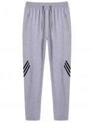 Stripe Drawstring Sweatpants - GRAY 3XL