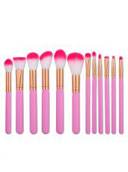 12PCS Two Tones Hair Makeup Brushes Set - PINK