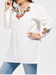 Plus Size Floral Embroidered Lace Up Blouse