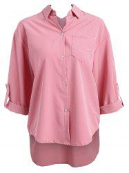 Plus Size High Low Button Up Blouse