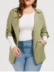 Slit Turn Down Collar Plus Size Trench Coat