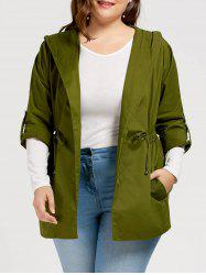 Plus Size Drawstring Hooded Trench Coat