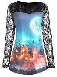 Plus Size Lace Panel Halloween Pumpkin Moon T-shirt