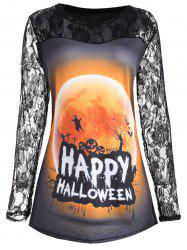 Plus Size Lace Insert Happy Halloween Moon T-shirt