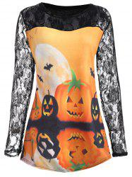 Halloween Pumpkin Moon Plus Size Lace Insert T-Shirt