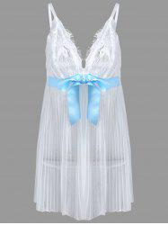Grande taille Lace Sheer Cami Babydoll - Blanc