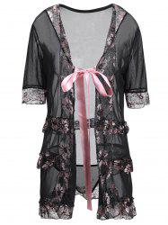 Plus Size Lingeries Lace Flowers Wrap Sleepwear
