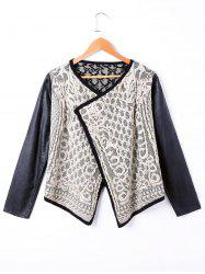 PU Panel Long Sleeve PU Panel Knit Jacket