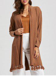 Long Tassels Open Front Cardigan