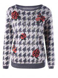 Pullover Floral Houndstooth Sweater