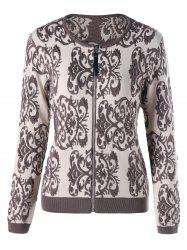 Long Sleeve Intarsia Graphic Zip Cardigan