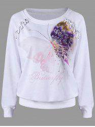 Lace Up Butterfly Print Sweatshirt