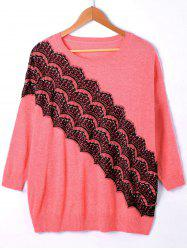 Pullover Ribbed Lace Panel Drop Shoulder Sweater