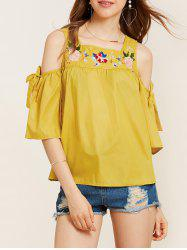 Flower Embroidery Cold Shoulder Blouse