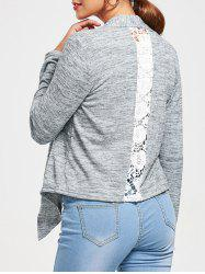 Lace Panel Back Open Front Irregular Cardigan