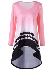 Printed High Low Ombre Color Long T-shirt