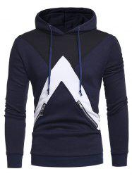 Zippers Embellished Color Block Panel Fleece Hoodie