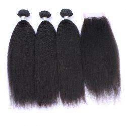3Pcs/Lot 7A Remy Long Shaggy Kinky Straight Indian Human Hair Weaves -