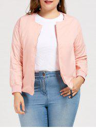 Plus Size Zipper Bomber Jacket