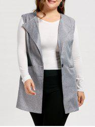 One Button Plus Size Sleeveless Trench Coat