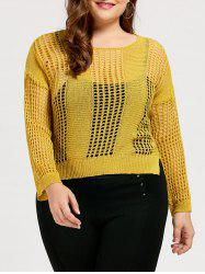 High Low Plus Size Crochet See Through Sweater