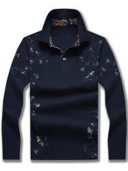 Floral Print Polo Collar Long Sleeve T-shirt