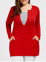 Plus Size Pocket Striped T-shirt