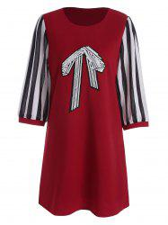 Stripe Panel Sequined Bow Plus Size Tunic Top