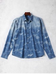 Tie Dyed Single Breasted Denim Shirt