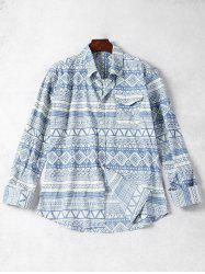Geometric Pattern Pocket Men Shirt