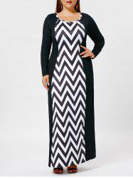 Plus Size Chevron Long Sleeve Maxi Dress