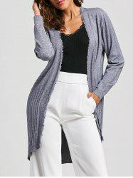 Open Front Frayed Cardigan