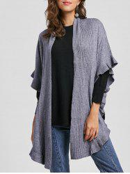 Flounce Open Front Batwing Sleeve Cardigan