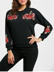 Patched Floral Pullover Sweatshirt