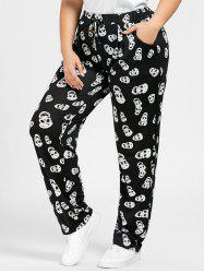 Plus Size Drawstring Skull Printed Pants