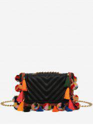 Stitching Tassels Chain Crossbody Bag -