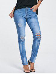 Skinny Frayed Ripped Jeans - BLUE S