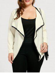 Collarless Plus Size Waterfall Jacket - OFF-WHITE 4XL
