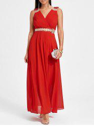 Rhinestone Ruched Maxi Party Dress - RED M