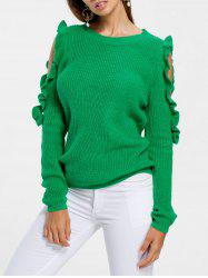 Ruffle Cold Shoulder Sweater -