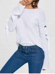 Ribbed Lace Up Sweater -