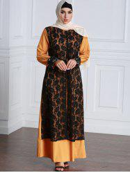 Lace Panel Contrasting Long Sleeve Maxi Dress -