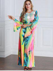 Colorful Tie Dyed Bow Tie Sleeve Maxi Dress -