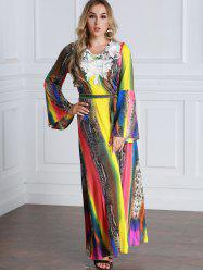 Tie Dyed Floral Applique Flare Sleeve Maxi Dress -