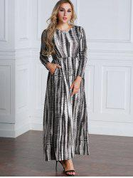 Tie Dyed Long Sleeve Maxi A Line Dress -