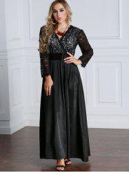 Lace Panel Long Sleeve Maxi Empire Waist Dress -