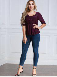 Twiat Half Sleeve Fitting Blouse - PURPLE 2XL